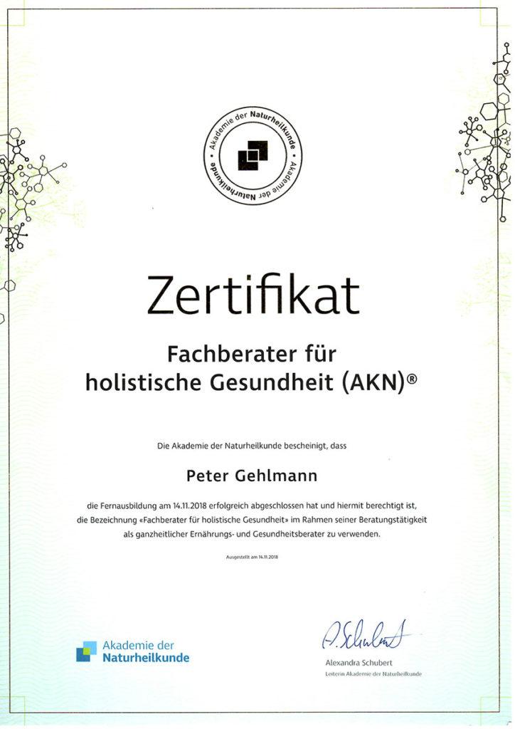 Peter Gehlmann Zertifikat holistische Gesundheit