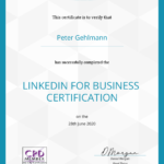 Business Mentor Peter Gehlmann - Zertifikat LinkedIn