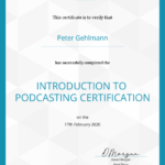Business Mentor Peter Gehlmann - Zertifikat Podcaster